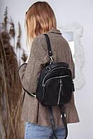 Кожаная сумочка с ремешком через плечо М242 black черная сумка-рюкзак
