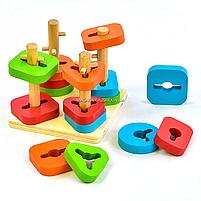 Деревянная пирамидка - сортер Fun Game 3+ (7377), фото 3