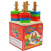 Деревянная пирамидка - сортер Fun Game 3+ (7377), фото 4