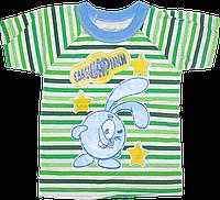 Детская футболка р 98 2-3 года для мальчика с принтом, хлопок (кулир) Смешарики Украина 2811 Зелёный