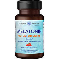 Vitamin World, Мелатонин Melatonin Quick Dissolve 10mg, 90 таблеток
