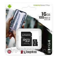 Карта памяти  Kingston 16 GB Micro SD Class 10