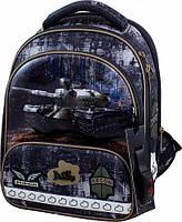 Рюкзак школьный ортопедический ранец DeLune для мальчика Танк + сменка + жесткий пенал + часы