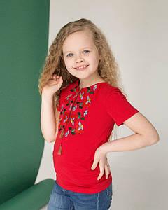 Вышитая футболка для девочки в красном цвете «Берегиня»