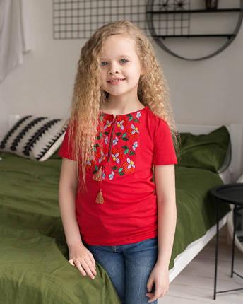 Вышитая футболка для девочки в красном цвете «Берегиня», фото 2