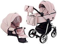 Детская коляска для новорожденных универсальная 2 в 1 всесезонная Adamex Sierra Polar (Chrome) Кожа 100% SR331Розовый