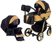 Детская коляска для новорожденных универсальная 2 в 1 всесезонная Adamex Sierra Polar (Gold) SR403 Золотистый с черным
