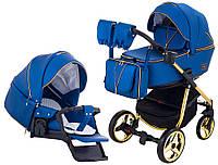 Детская коляска для новорожденных универсальная 2 в 1 всесезонная Adamex Sierra Polar (Gold) Кожа 100% Y220 Темно-синий перламутр