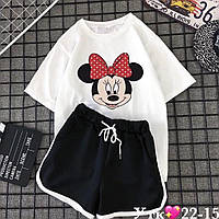 Костюм женский летний стильный с шортами и футболкой в расцветках (Норма)