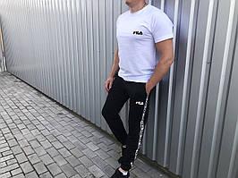 Літній чоловічий комплект штани+футболка Fila чорний з білим (репліка)