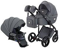 Всесезонная детская коляска для новорожденных 2 в 1 универсальная Adamex Luciano jeans Q2-CZ Серый