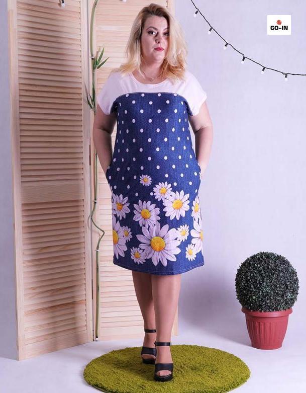 Сукня жіноча літнє батальне для повних з кокеткою 48-60р.