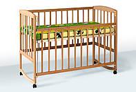Детская кровать для детей от рождения до 4 лет из натурального дерева - бук Goydalka AMELI опускаемая боковина