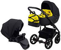 Детская коляска для новорожденных 2 в 1 универсальная всесезонная Bair Future FF-02 Черный - Желтый