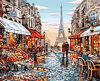Картина по номерам.  Цветочный магазин Парижа  40*50см