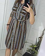 Платье рубашка яркое в полоску от 44 до 56 размеры, фото 1