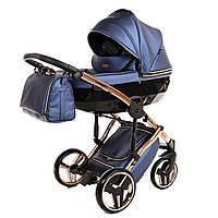 Детская коляска 2 в 1 для новорожденных всесезонная универсальная Junama Diamond Fluo Line 01 J-FL-01 Синий с черным