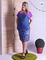 Жіноче літнє плаття батальне з кокеткою 48-60р., фото 1