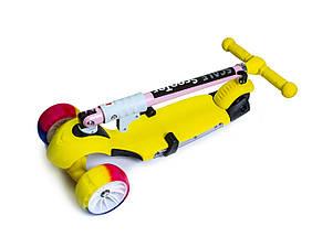 Самока Scooter 3in1.Yellow. Складная ручка! Cо светом и музыкой! Смарт-колеса!, фото 3
