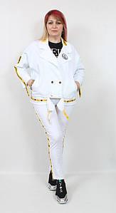 Турецкий женский белый коттоновый костюм больших размеров 50-58