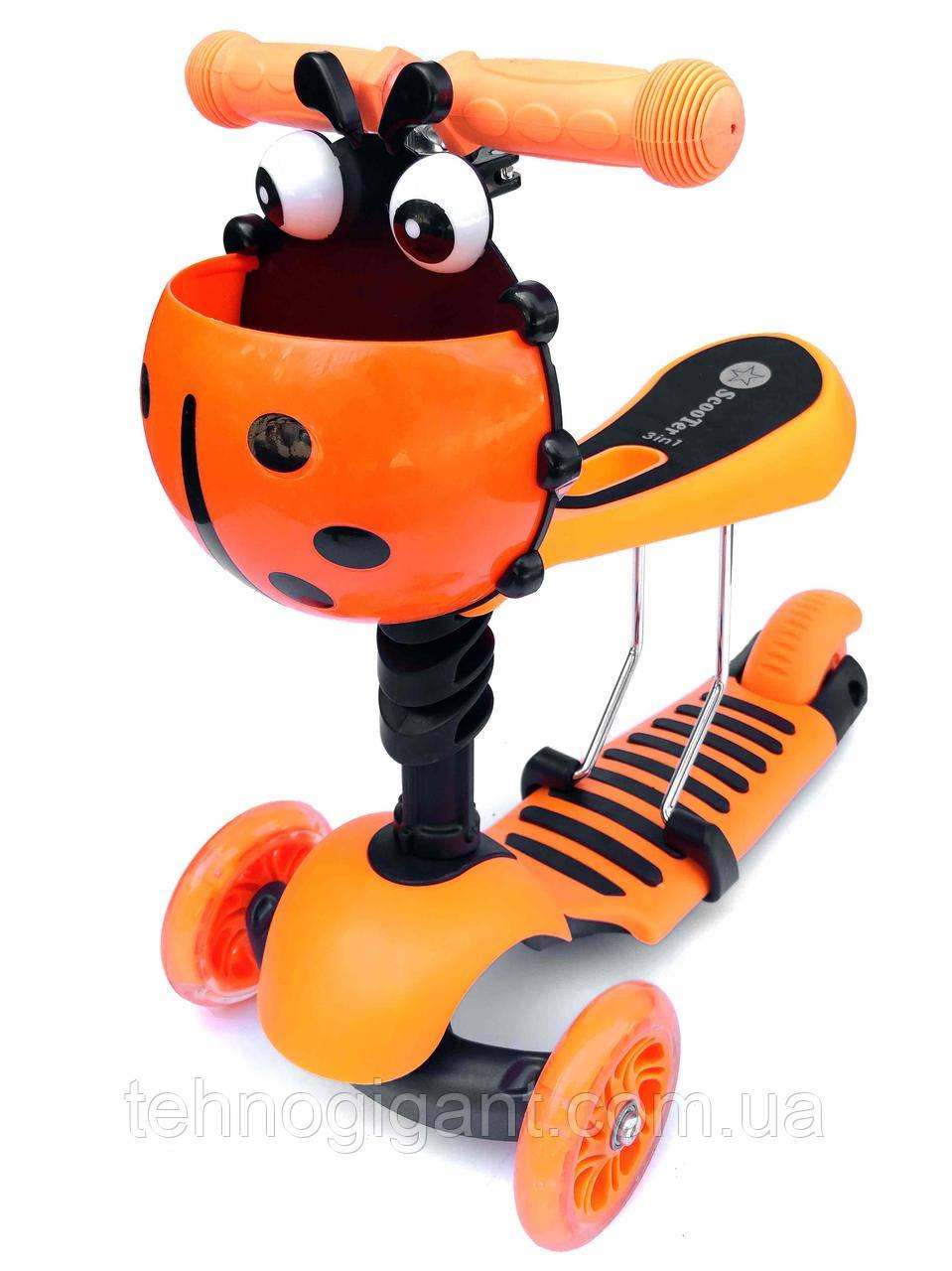 Cамокат Беговел 3 в 1 Scooter божья коровка, с не скользящей платформой, сиденьем, корзиной, Оранжевый