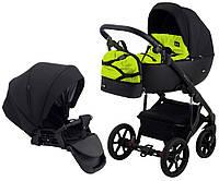 Детская коляска для новорожденных 2 в 1 универсальная всесезонная Bair Future FF-05 Черный - Салатовый
