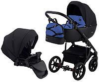 Детская коляска для новорожденных 2 в 1 универсальная всесезонная Bair Future FF-04 Черный - Синий