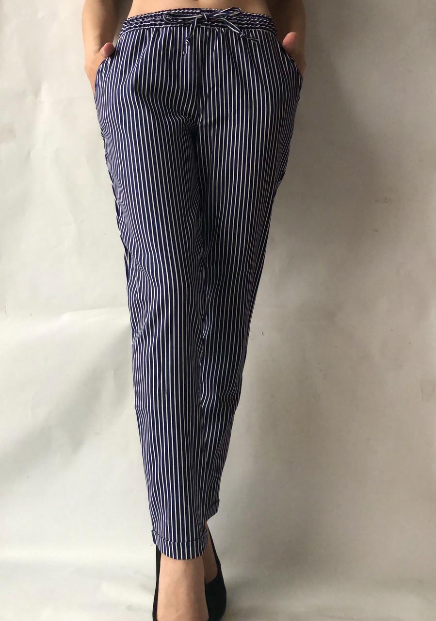Летние брюки из льна №21 БАТАЛ (синий+белый)