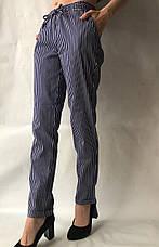 Летние брюки из льна №21 БАТАЛ (синий+белый), фото 2