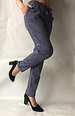 Летние брюки из льна №21 БАТАЛ (синий+белый), фото 3
