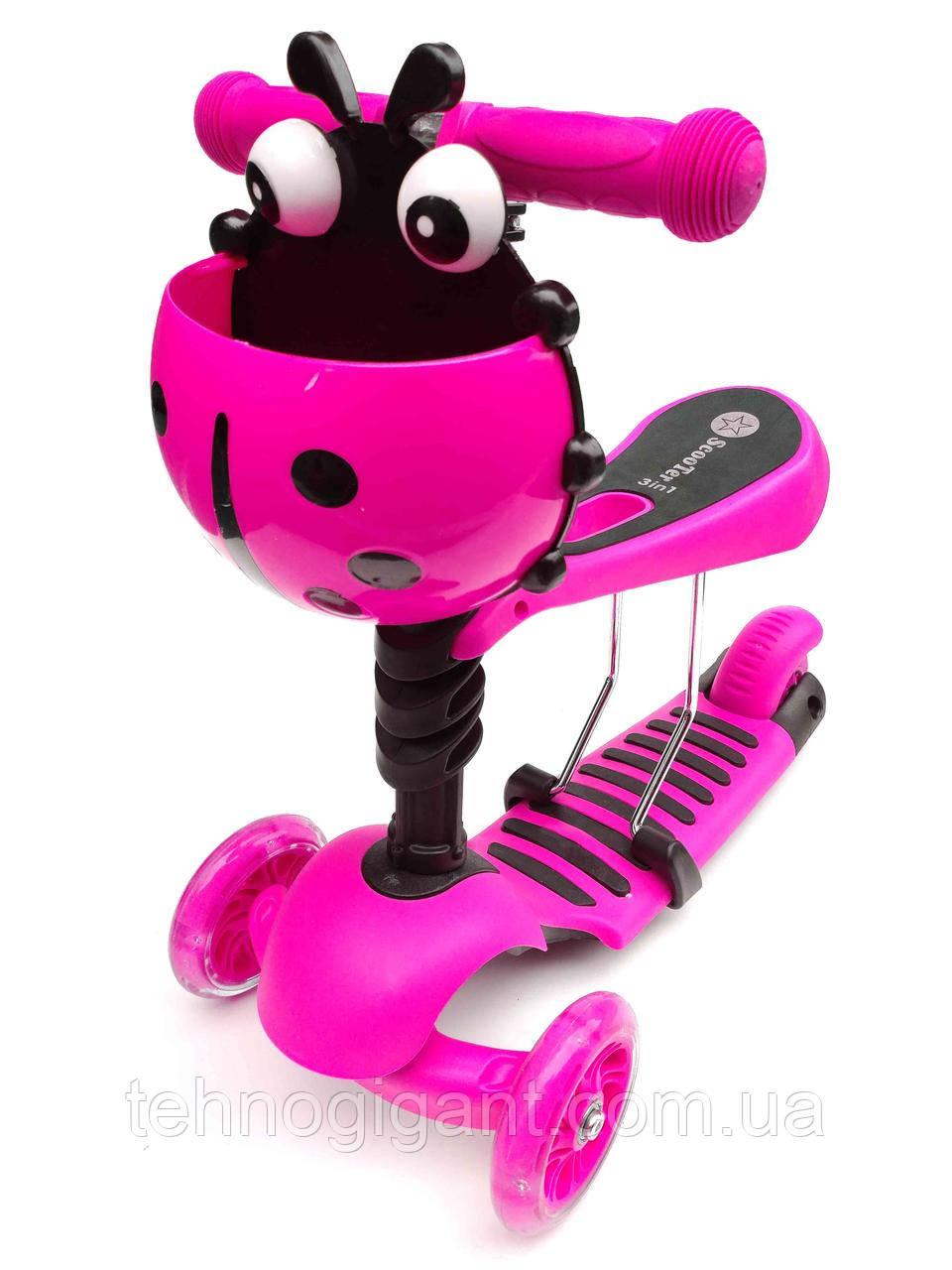 Cамокат Беговел 3 в 1 Scooter божья коровка, с не скользящей платформой, сиденьем, корзиной, Розовый