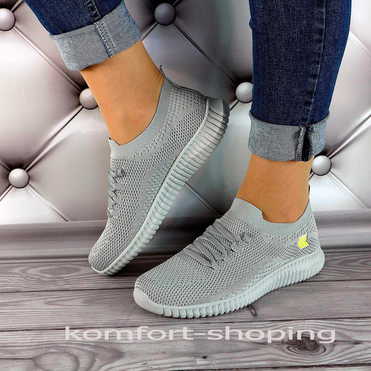 Женские кроссовки на шнуровке, серая сетка   V 5501