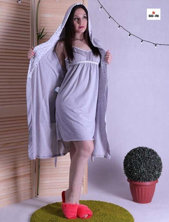 Комплет халат с ночной в роддом серый р.42-54