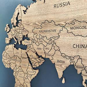 Карта мира деревяная (ясень)