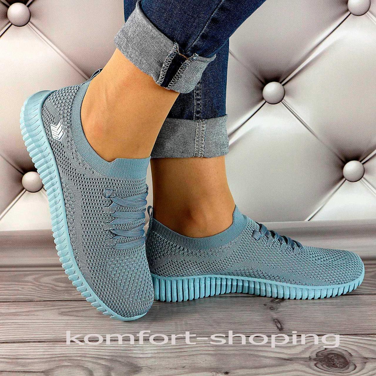 Женские кроссовки на шнуровке, синяя сетка   V 5501
