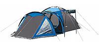 Палатка 4-х местная Presto Acamper SOLITER 4 PRO серо- синяя - 3500мм. H2О - 5,3 кг.