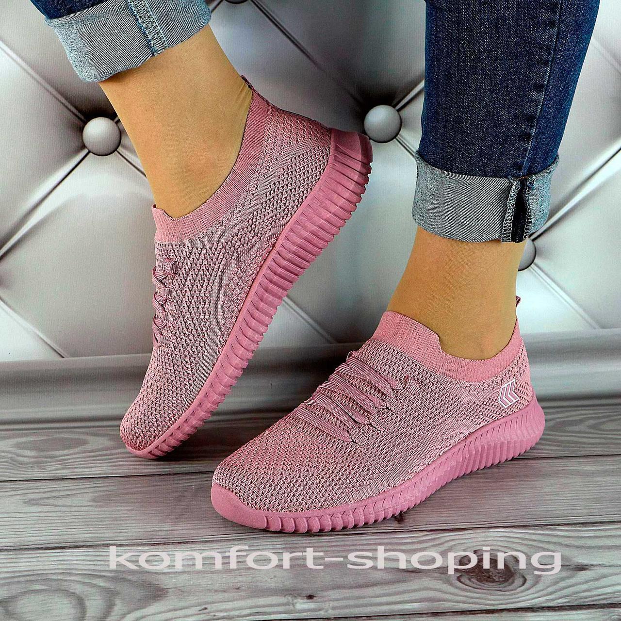 Женские кроссовки на шнуровке, лиловая сетка   V 5501