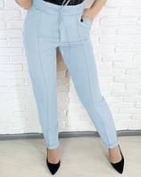 Модные женские брюки голубого цвета