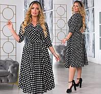 """Женское стильное платье в батальных размерах 6051 """"Софт Горох Запах Миди"""" в расцветках"""