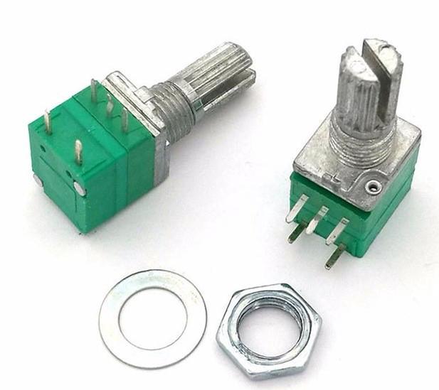Резистор переменный RK097 B 20кОм одинарный с выключателем 5pin 15mm. 1 шт