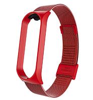 Металлический браслет для фитнес трекера Xiaomi mi band 4 / 3 Цвет Красный ремешок аксессуар замена