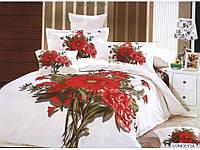 Полуторное постельное белье  Arya сатин  Concetta с красным большим букетом