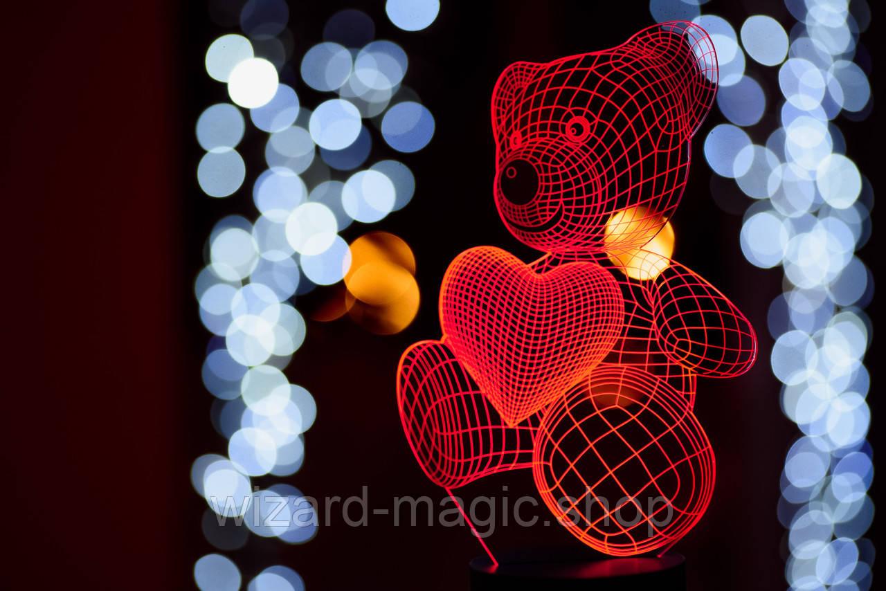 3D ночник Мишка с сердцем