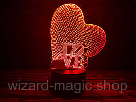 Сменная пластина для 3D Светильников Сердце LOVE
