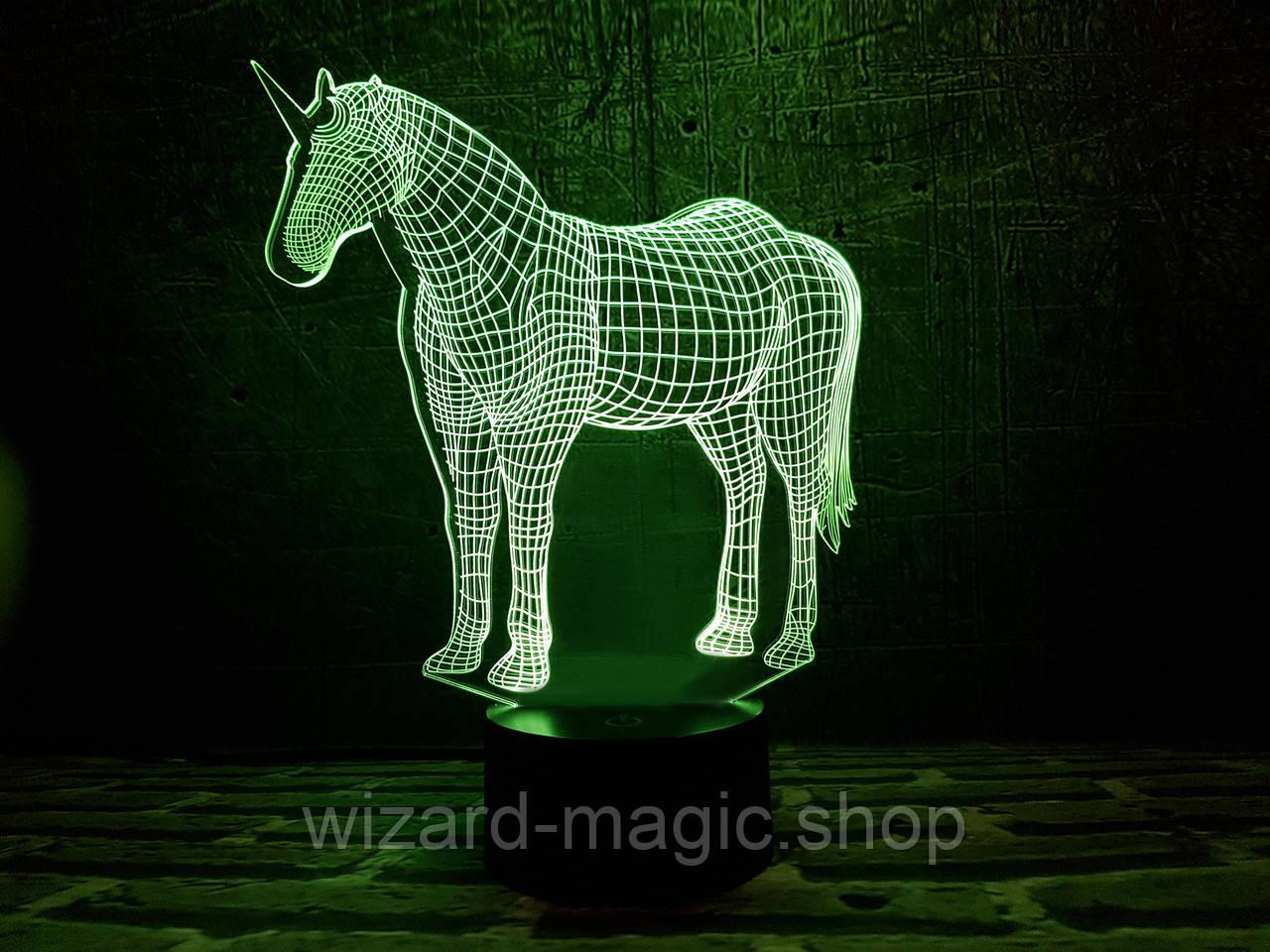 Сменная пластина для 3D ночника Единорог