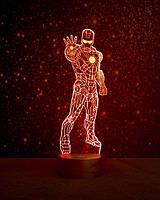Ночник 3D светильник Железный человек 1 3D Creative