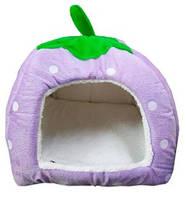 Домик для животных Земляника 22-4-6, размер S, фиолетовый