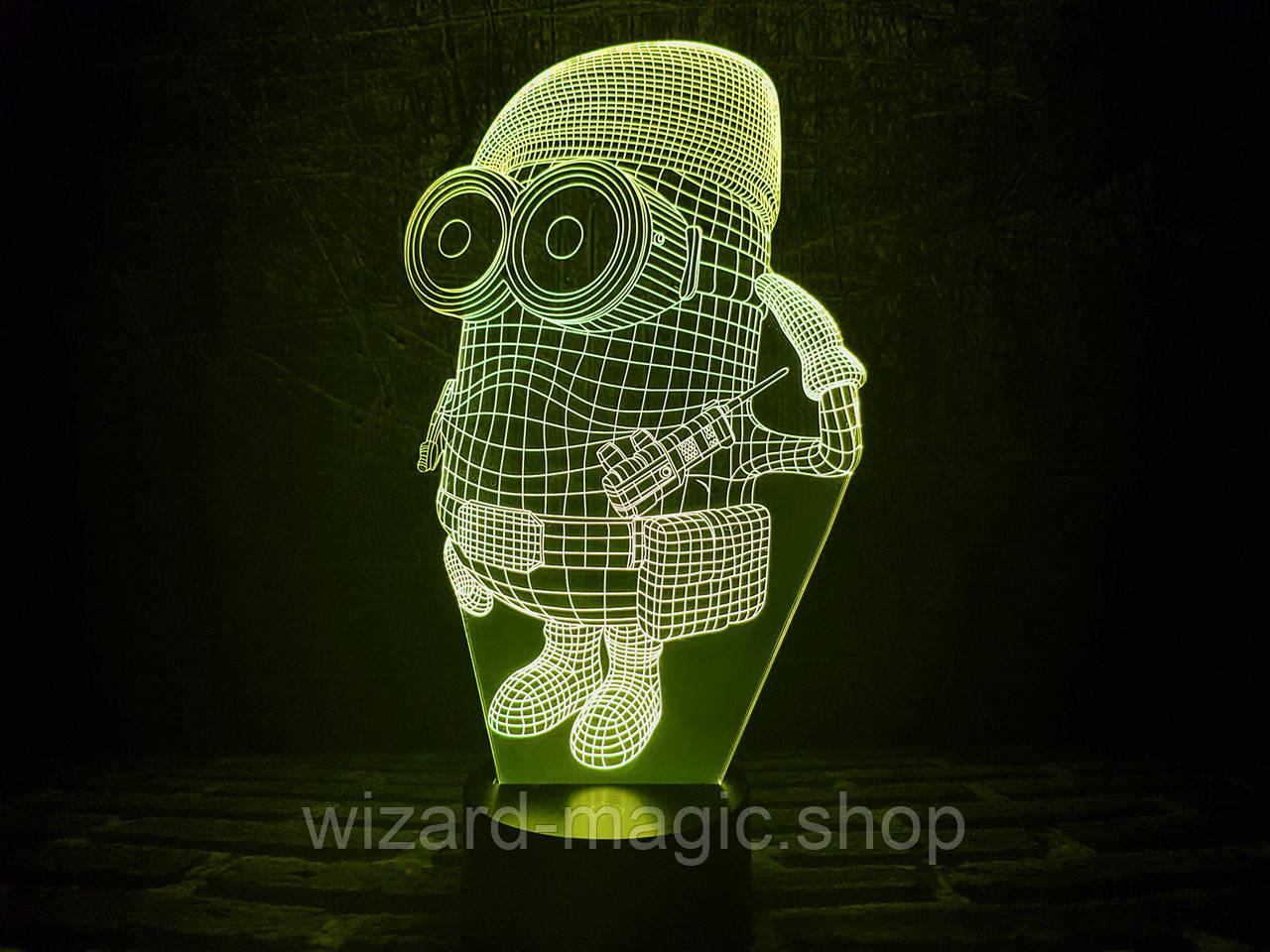 3D светильник ночник Миньон военный