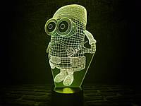 3D светильник ночник Миньон военный, фото 1