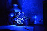3D светильник ночник Kitty, фото 1